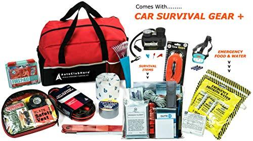 Kit Phone Emergency - AutoClubHero Premium Car Emergency Survival Kit 185-Pieces for Car Survival & Roadside Assistance