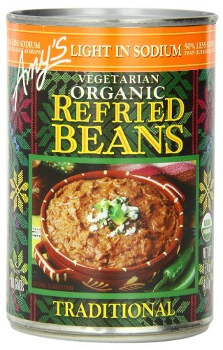 Amy's Vegetarian Organic Refried Beans, Light in Sodium Traditional, 15.4 Ounce (Pack of 12) by Amy's