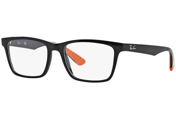 f79de6c6e5f Image Unavailable. Image not available for. Colour  Ray Ban Optical Men s  Rx7025 Black Frame Plastic Eyeglasses ...
