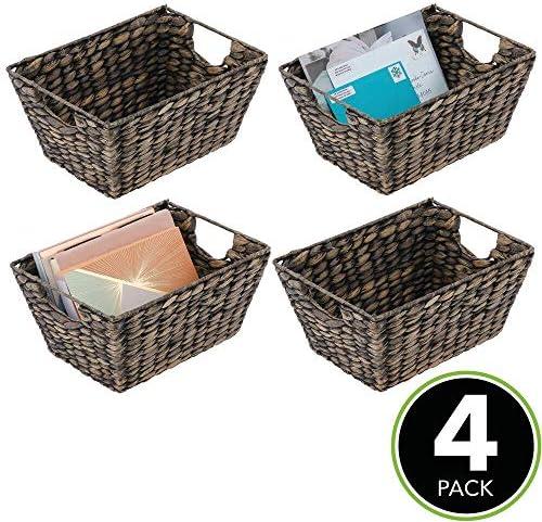 home, kitchen,  storage, organization 3 picture mDesign Natural Woven Hyacinth Closet Storage Organizer Basket deals