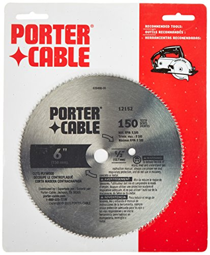 PORTER-CABLE 12152 6-Inch 150 Tooth TCG Plywood Cutting Blade with 1/2-Inch Arbor
