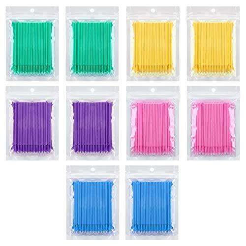 1000 PCS Mascara Disposable Micro Brushes Applicator Eyelash Wands Brush for Eyelashes Extensions 5 Color (Eyelash Extensions Microbrush)