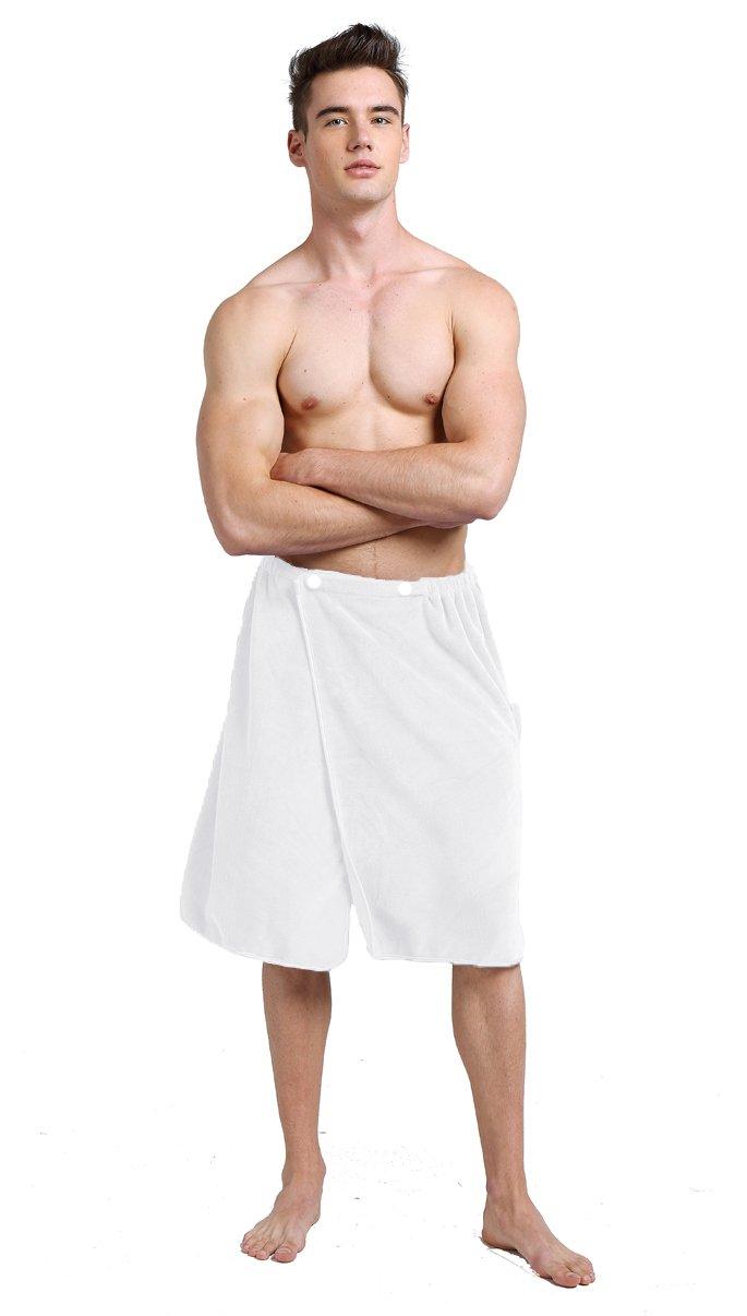 Sinland Microfiber Men's Spa Wrap Towel Bath Towel Snap Closure 24inch x 63inch White