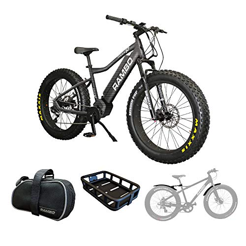 (Rambo R1000XPS Xtreme Performance Electric Bike (Carbon) Accessory Bundle w/Front Luggage Rack, Fender Kit and Portable Took kit)