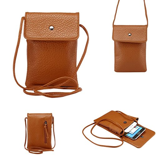 rossbody Cell Phone Bag PU Leather Carrying Cases Credit Card Holder Shoulder Pouch Bag for iPhone 6/6S Plus 6/6S Samsung Galaxy Note Series Phones Under 6.2 inchs -Light Brown (Shoulder Holder)