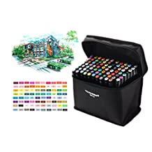 Togood 80 Different Colors Art Sketch Twin Marker Pens,Dual Tips Broad Fine, Professional Marker Set for Coloring Painting, Black rod For Animation Manga Design