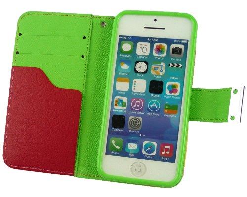 Emartbuy® Apple Iphone 5c Luxus Desktop-Ständer Wallet Schutzhülle / Abdeckung / Pouch Blocks Rosa / Gelb / Weiß Mit KRotitkarte Slots