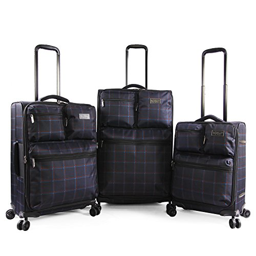 Plaid Sets Luggage (Original Penguin Norton 3pc Expandable Suitcase Set with Spinner Wheels, Navy Plaid)