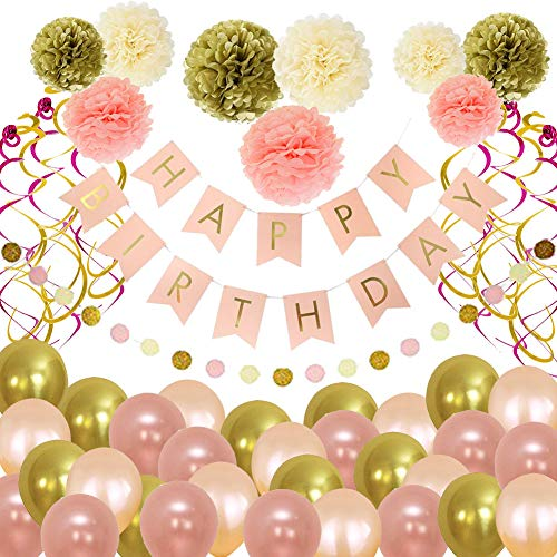 Birthday Decorations, Birthday Decorations Party Supplies,Happy Birthday Banner,86 Pcs Gold and pink Birthday decorations for women,Hanging Swirls Birthday Balloons Birthday Party Decoration Hulaso