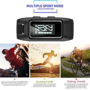 Diggro DB-10 Smart Bracelet Build-in GPS Tracker 20 Days Standby Time Four Sport Modes Heart Rate Monitor IP68 Waterproof Bluetooth 4.0 Calling Message Reminder for Android & iOS(Black+Red)