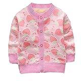 ESHOO Baby Girls Strawberry Print Cardigan Fleece Warm Knitwear