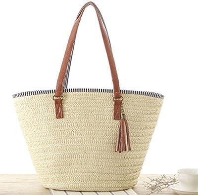 XZANTE Bolsa de Playa de Paja para Mujer Bolsa de Viaje, Forro de Algodon, Mangos de Cuero PU (Beige): Amazon.es: Zapatos y complementos