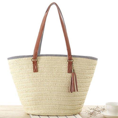 XZANTE Bolsa de Playa de Paja para Mujer Bolsa de Viaje, Forro de Algodon, Mangos de Cuero PU (Beige)