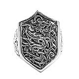 Beydodo Mens Silver Ring, Shield Dragon Ring Size 11 Men Rings Hip Hop