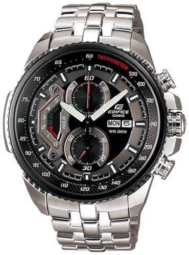 Casio Men's EF558D-1AV Silver Stainless-Steel Quartz Watch with Black Dial