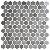Daltile Uptown Glass Mosaic Backsplash Tile Frost Moka 1 Hexagon Mosaic UP18