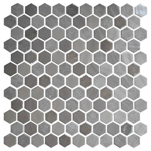 (Daltile Uptown Glass Mosaic Backsplash Tile Frost Moka 1 Hexagon Mosaic UP18)