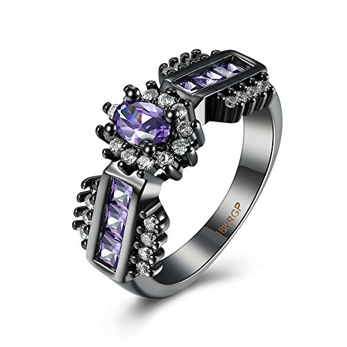 [Eternity Love Wedding Bands Women's 18K Black Gold Plated Rings Oval Brilliant Cut CZ Crystal Engagement Rings Best Promise Rings Anniversary Wedding Rings for Lady Girl, Purple ,] (Homemade Wolf Costumes For Kids)