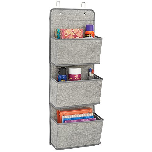 mDesign Soft Fabric Over the Door Hanging Storage Organizer with 3 Large Cascading Pockets, Holder for Office Supplies, Planners, File Folders, Notebooks - Textured Print, Gray by mDesign