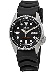 Seiko Mens SKX013K Black Rubber Automatic Watch with Black Dial