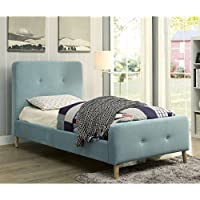 Furniture of America Celene Mid-century Modern Tufted Flannelette Twin-size Bed Blue