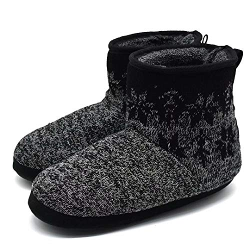 Mens Woolen Knit Slipper Boots Furry Plush Foam Velvet Slip on Ankle Booties Indoor House Bedroom Shoes