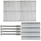 Hisencn Repair Kit Stainless Steel Burners, Stainless Heat Plates Tent Shield and Cooking Grids Grill Grate Replacement Parts for Master Forge 1010037 Gas Grill Models