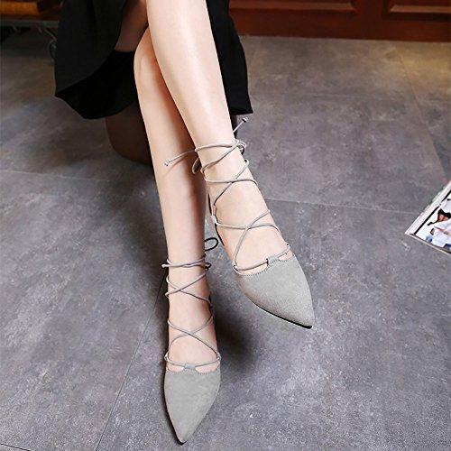 Meeshine Dames Dorsay Puntige Teen Enkelbandje Wrap Ballet Flats Lace Up Platte Schoenen Grijs