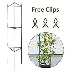 GROWNEER Plant Cages Assembled Tomato Garden Cages Stakes Vegetable Trellis, w/ 3Pcs Clips, for Vertical Climbing Plants