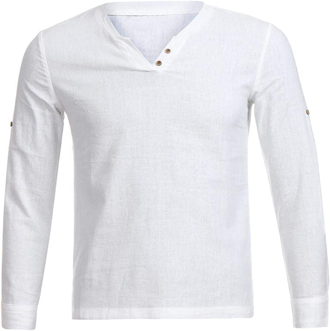 Alimao Mens Shirt Cotton Linen Shirts Casual Solid Long Sleeve Stand Neck Tops Blouse