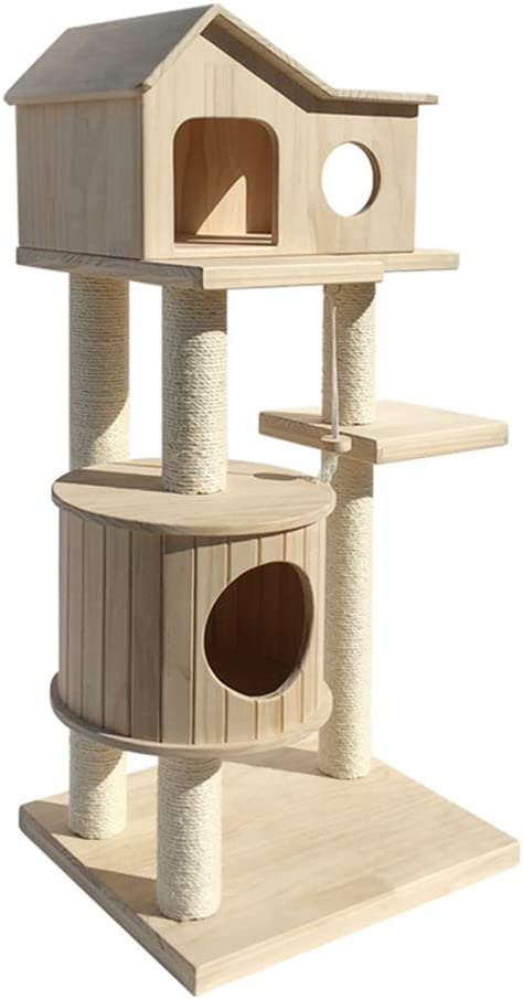 猫の塔 猫ハウス猫タワー猫の木登り木のプラットフォーム塔おもちゃの生息地家具付きマンションのペットの子猫遊ぶ猫のスクラッチボード 豪華な猫の (色 : Natural, Size : As pictiure)