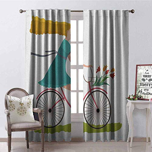 - GloriaJohnson Bicycle Blackout Curtain Young Woman on Bike with Basket of Tulip Flowers Riding in The Spring Countryside 2 Panel Sets W100 x L84 Inch Multicolor