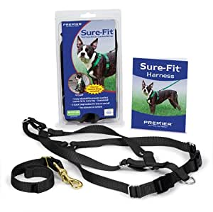 Premier Pet Sure Extra Petite Fit Dog Harness with Matching Car Control Strap, Black