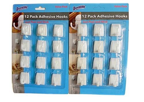 (24 Pcs Medium Wall Adhesive Hooks Just Peel & Stick 2 Packs of 12 Home Bath Office Dorm made by Dependable Industries)