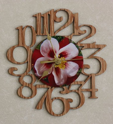 (COLUMBINE FLOWER ~ SMALL Decorative OAK PHOTO WALL CLOCK ~ Great Gift for Mom on Mother's Day, Christmas or a Birthday!!)