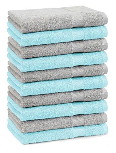 Betz 10er Pack Seiftücher Set Größe 30x30 cm 100% Baumwolle Seiflappen Premium Farbe Silber Grau & Türkis