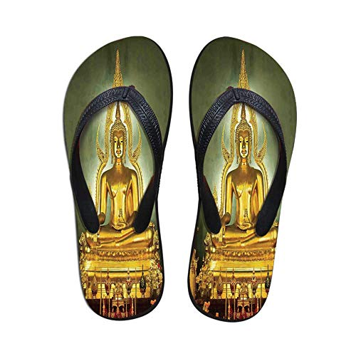 (Asian Decor Printing Flip Flops,Golden Statue on Throne Meditation Nirvana Pray Indian Classic Art Home Decorative Image for Home or Holiday,US Size 5)