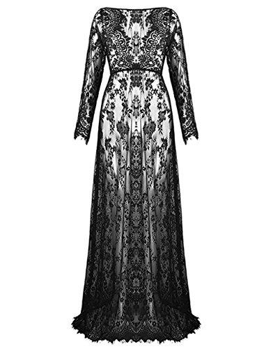 ZIUMUDY Sexy Deep V-Neck Long Sleeve Lace Beach See-Through Maternity Maxi Dress (Large, Black) (Black Lace Maternity Dress)