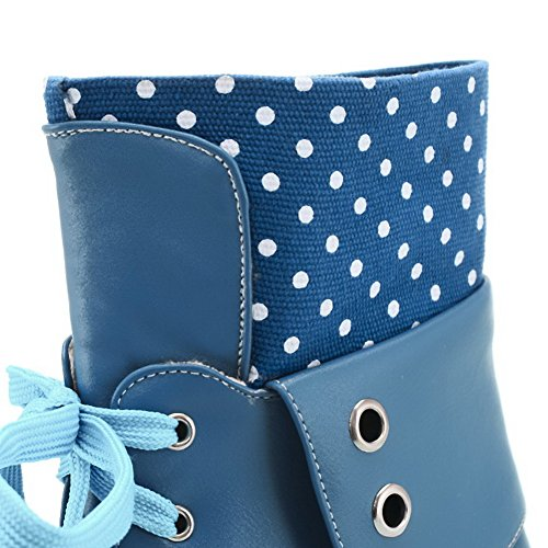 Blue Boots AgooLar Soft Women's Material Low top dots up Low Heels Polka Lace w7qPRgwC