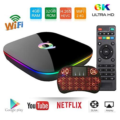 2019 Android 9.0 TV Box Q Plus TV Box H6 Quad-core cortex-A53 4GB RAM 32GBROM Smart tv Box Support 3D 4k Ultra HD H.265…
