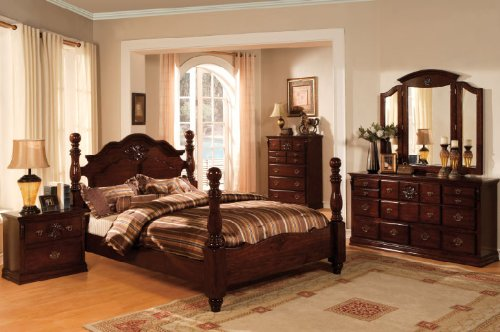 Inland Empire Furniture Tuscan II Dark Pine Solid Wood Poster Queen Bed Set - Solid Pine Poster Bed