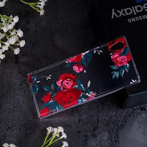 Funda Sony Xperia XA1 Gato Suave Transparente TPU Silicona Anti-rasguños Protector Trasero Carcasa Para Sony Xperia XA1 (5,0 Pulgadas) con Un Protector de Cristal Templado Film Flor