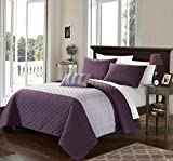 Chic Home 4 Piece Ellias Geometric Quilting Embroidery King Quilt Set Lavender Shams and Decorative Pillows included