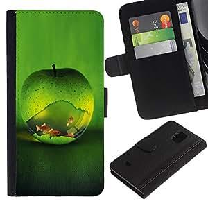 KingStore / Leather Etui en cuir / Samsung Galaxy S5 Mini, SM-G800 / Fresca manzana verde Fish Aquarium Oro Naturaleza