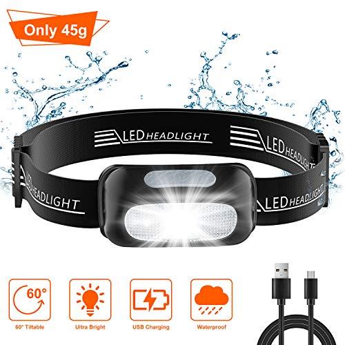 Cocoda Linterna Frontal, Frontal LED USB Recargables con 5 Modos de Luz, 200 Lúmenes, Impermeable IPX4 para Niños y…