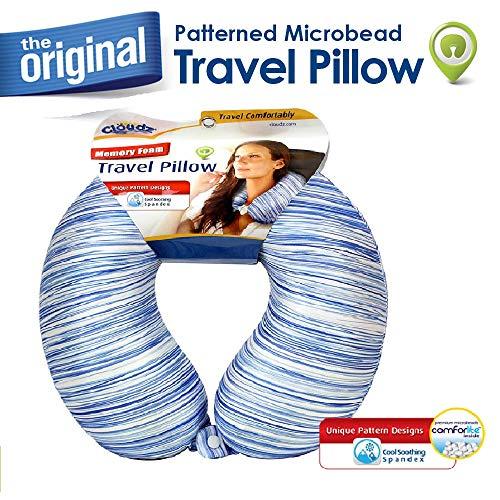 Cloudz Memory Foam Patterned Travel Neck Pillow - Blue Stripes