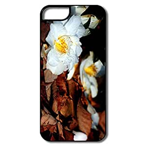 IPhone 5/5S Case, White Fallen Flowers White/black Covers For IPhone 5S
