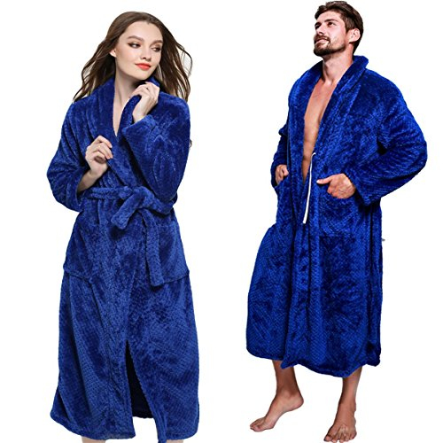 FashionOutlets Unisex Shawl Collar Long Bathrobe Plush Fleece Soft Warm Chenille Robe, Royal L