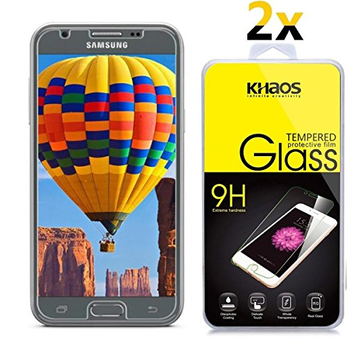 ([2-Pack] Khaos for Samsung Galaxy Amp Prime 2 HD Clear Tempered Glass Screen Protector with Lifetime Replacement Warranty)