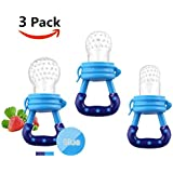 Baby Fresh Food Feeder   Baby Teether   Baby Teething Toys   Baby Fruit Feeder   Mesh Teether, 3 Pack Fruit Food Silicone Nipple Teething Toy Reusable Aching Gums Pacifier,Blue Portable Infant Food